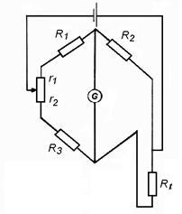 Рис. 4.8.  Трехпроводная схема уравновешенного моста.