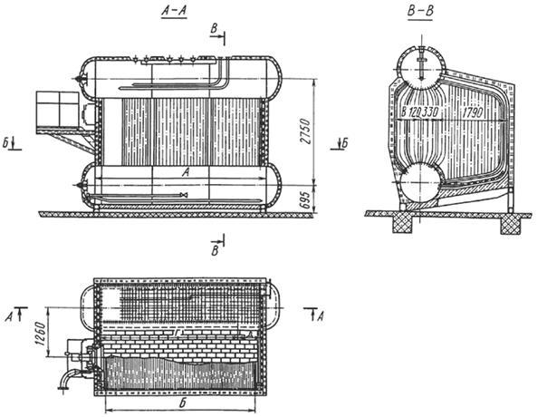 Длина цилиндрической части барабанов (в котлах типа ДЕ, в отличие от котлов типа ДКВР и КЕ, длина верхнего и нижнего...