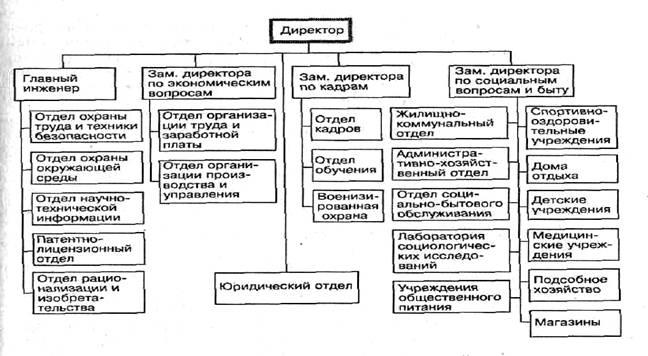Схема традиционной организационной структуры системы управления персоналом крупной организации.
