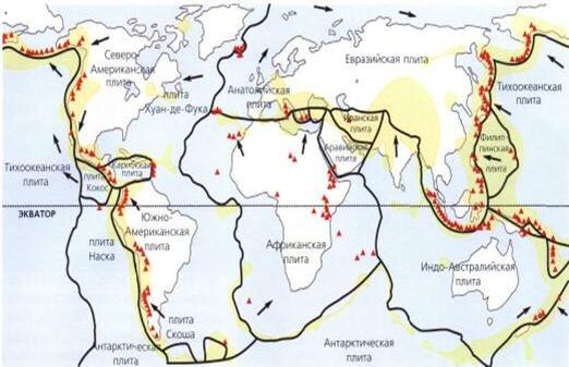 Карта движения литосферных