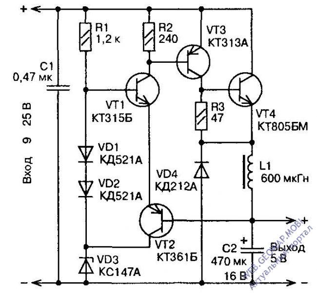 Диод VD4 обеспечивает путь тока дросселя.