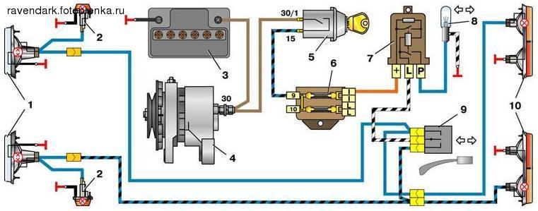 Схема прерывателя поворотников