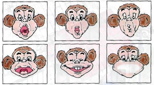 Определи по губам, какой гласный звук произносит обезьянка. .