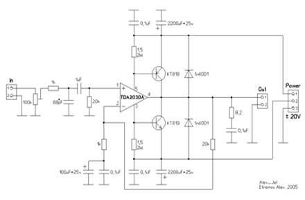 Схема усилителя на TDA2030A с