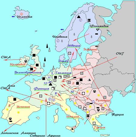 Цифрами на карте обозначены: