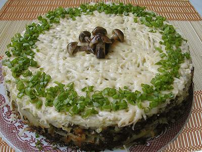 картофельный торт с грибами