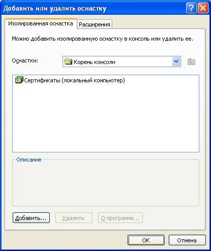 оснастка windows сертификат