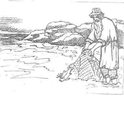 Черно белый рисунок рыбак и золотая рыбка