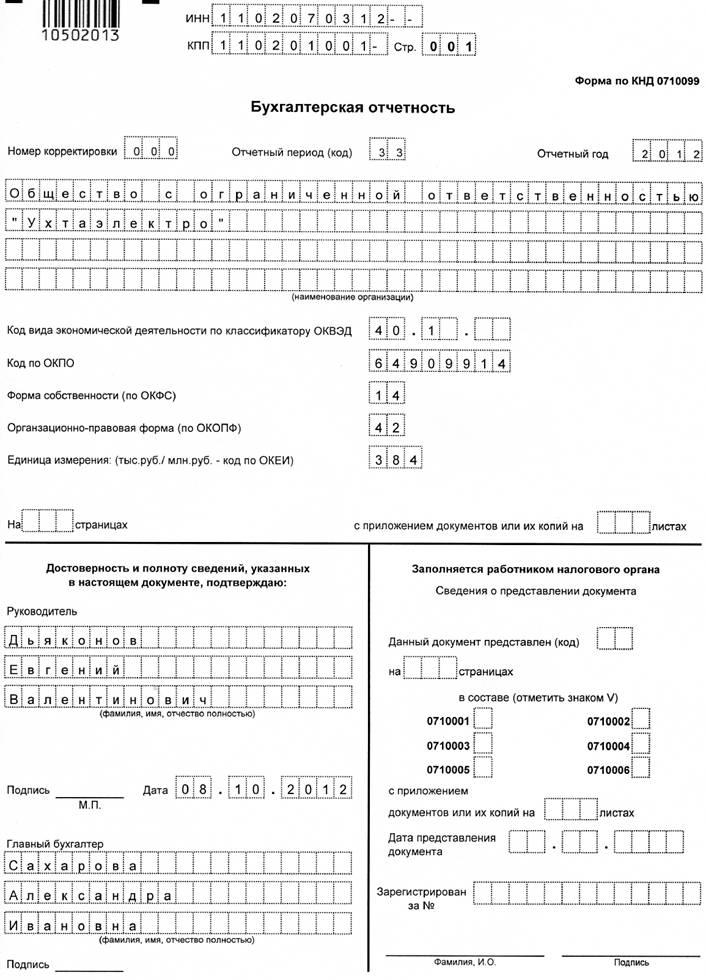 Форма По Кнд 0710099 За 2015 Год Бланк Скачать Excel - фото 7