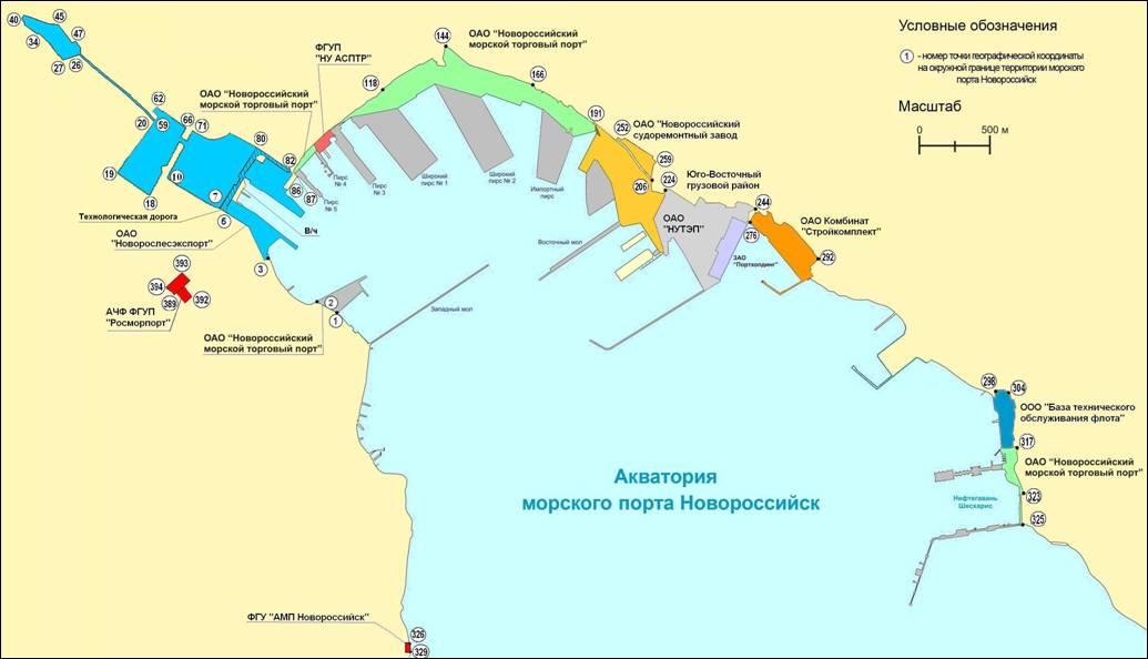Схема причалов порта новороссийск