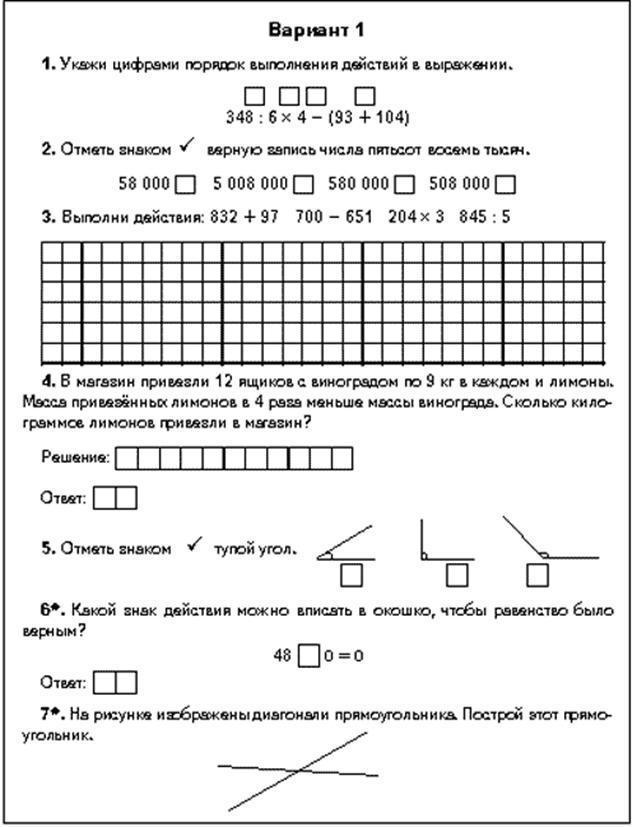 Вводная контрольная работа по математике 8 класс 2016 год с ответами