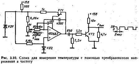 Принципиальная схема преобразователя частоты в напряжение