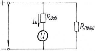 C:\DOCUME</p></noscript> <p>1\Temp\FineReader10\media\image1.jpeg» width=»315″ height=»169″/></p> <p>Так как добавочный резистор и измерительный механизм включаются последовательно, то к ним применимы все соотношения для последовательных цепей.</p> <p>В результате можно вывести расчетную формулу' для определения сопротивления добавочного резистора:</p> <p>где m = — множитель добавочного резистора;</p> <p>U — измеряемое напряжение;</p> <p>Uи- номинальное напряжение измерительного механизма;</p> <p>Rи — сопротивление рамки измерительного механизма.</p> <div style=
