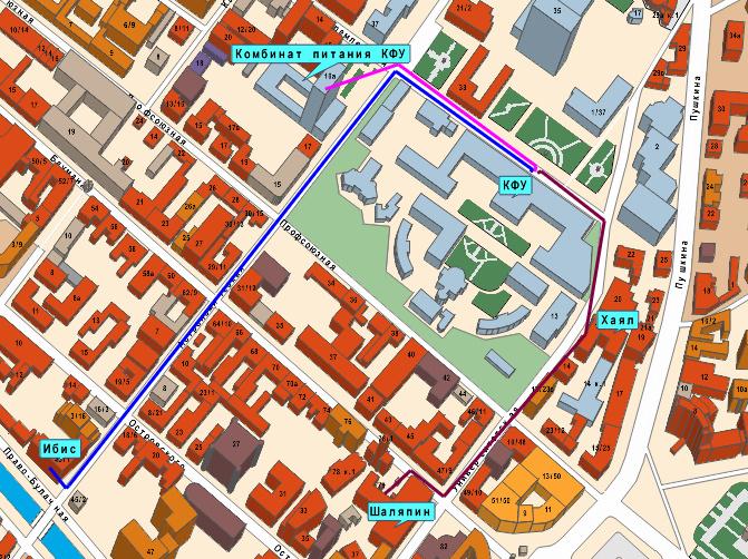 Схема пешеходных маршрутов