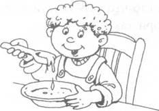 Дети едят раскраски