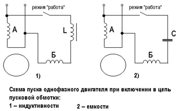 Принципиальная схема подключения однофазного двигателя