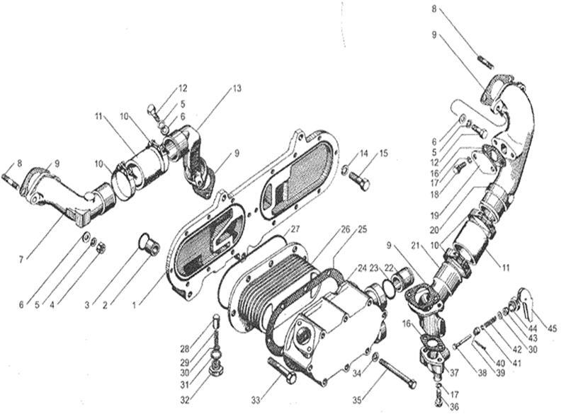 Теплообменник на дизельном двигателе стальной теплообменник в газовой колонке