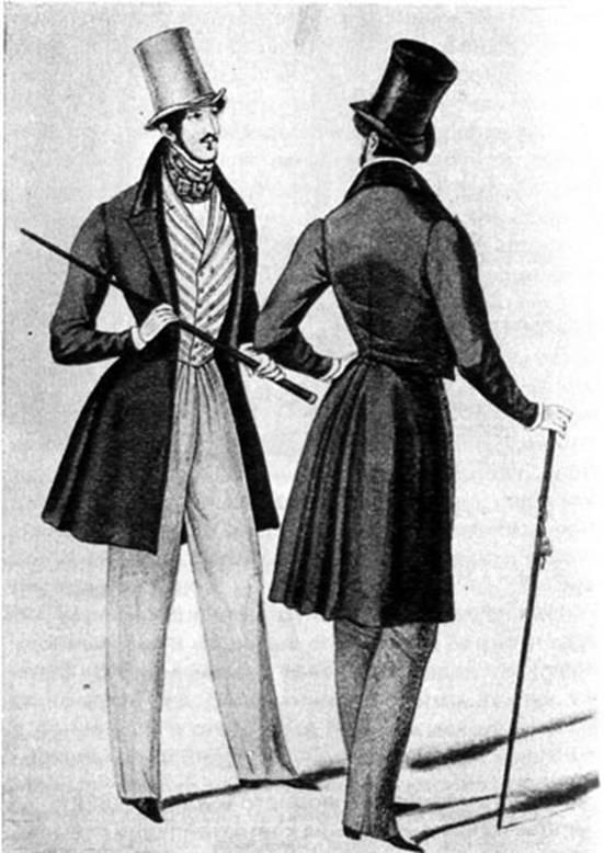 Мужские фраки, цилиндры 1834.jpg