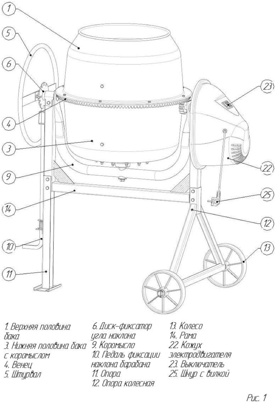 схема сборки бетономешалки