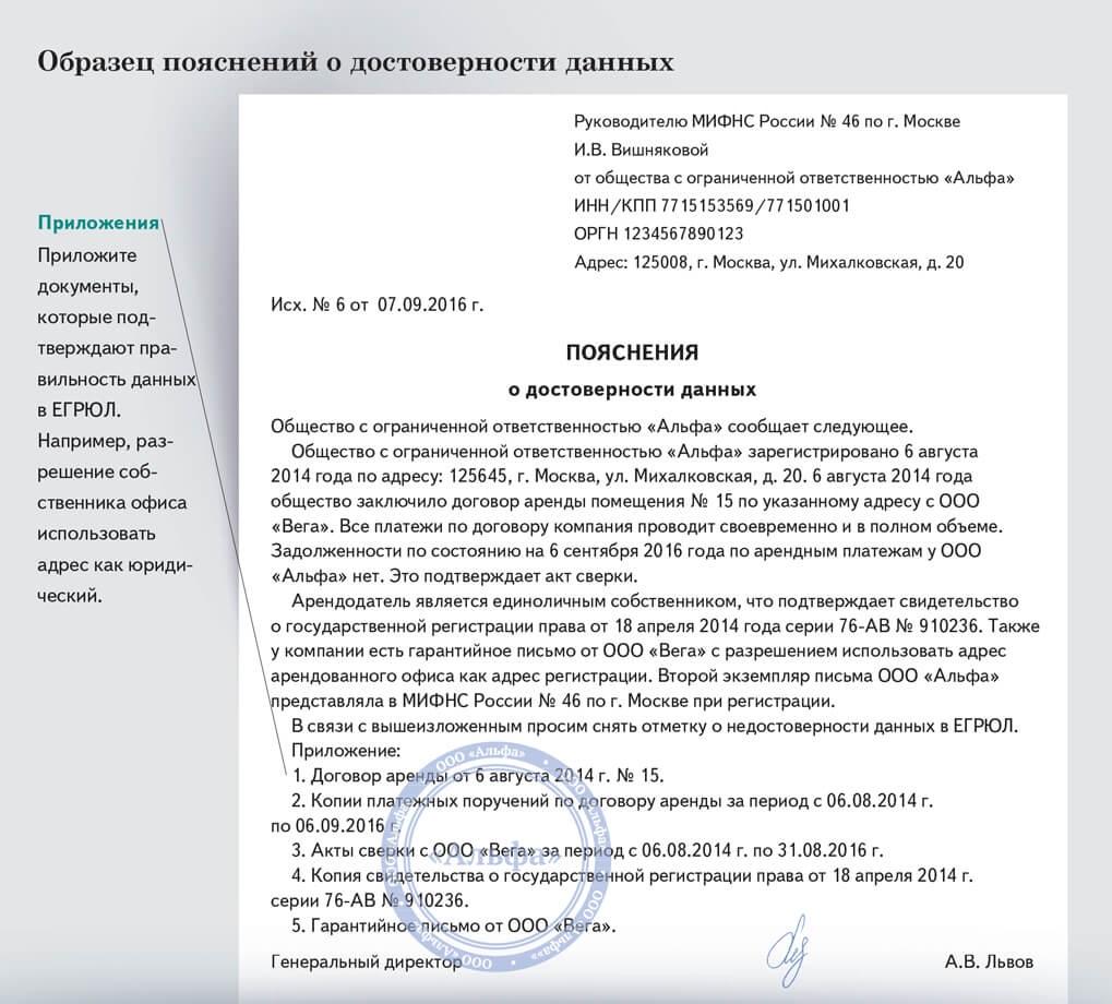 образец письма на подтверждение юридического адреса