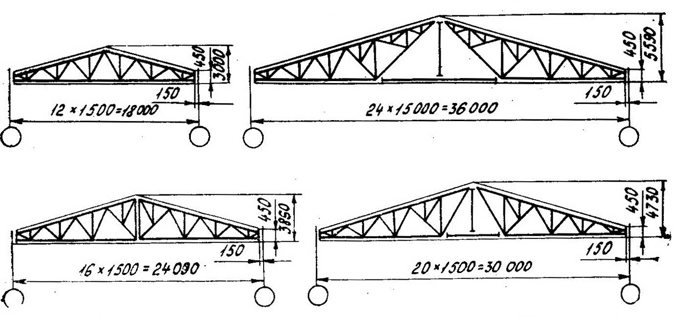 чертеж треугольной фермы