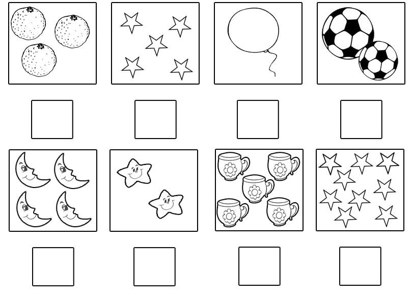 Раскраска сравнение групп предметов