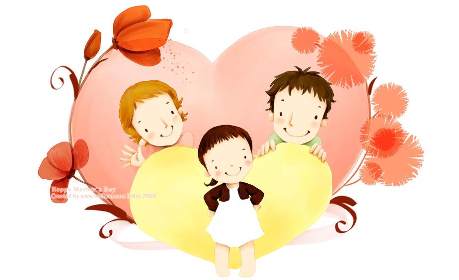 Открытки мама папа и ребенок