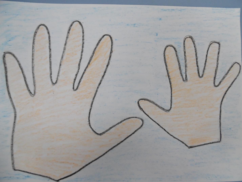 Открытка обводим руку